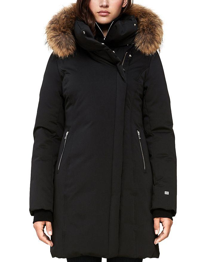 Soia & Kyo - Alsina Fur Trim Asymmetric Front Down Coat - 100% Exclusive