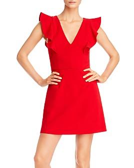 FRENCH CONNECTION - Whisper Ruffled V-Neck Mini Dress