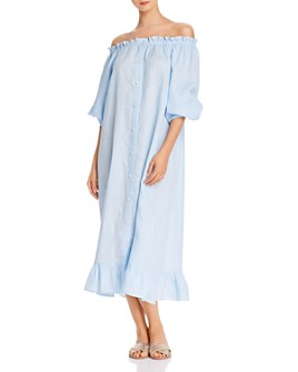Sleeper - Linen Off-the-Shoulder Midi Dress