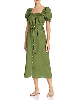 Sleeper - Brigitte Linen Midi Dress