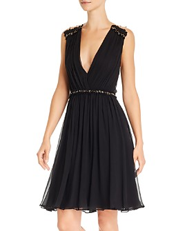 BCBGMAXAZRIA - Plunging Pleated Dress with Swarovski Crystals