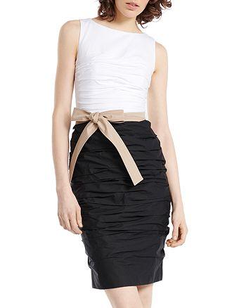 PAULE KA - Ruched Color-Blocked & Belted Dress