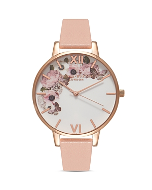 Olivia Burton Signature Florals Dusty Pink Leather Strap Watch & 3D Butterfly Stud Earrings Gift Set