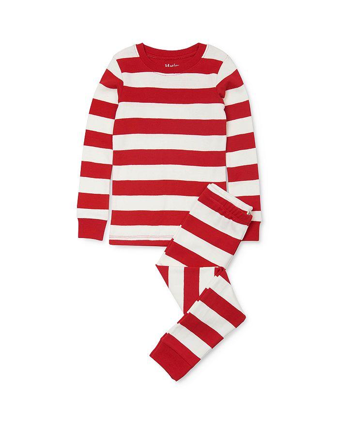 Hatley - Unisex Candy Cane Striped Tee & Candy Cane Striped Pants Pajama Set - Little Kid, Big Kid