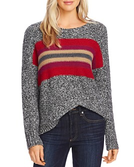 VINCE CAMUTO - Marled Stripe-Panel Sweater