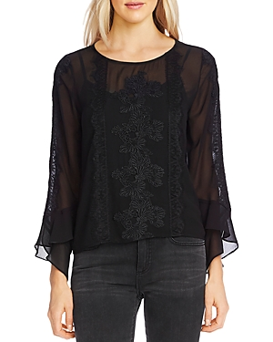 Vince Camuto Tops LACE-TRIM CHIFFON TOP