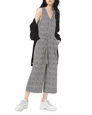 Michael Michael Kors Belted Foliage Print Crepe Jumpsuit-Women