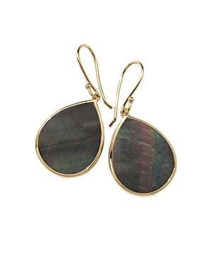 Ippolita 18K Yellow Gold Polished Rock Candy Black Shell Mini Teardrop Earrings-Jewelry & Accessories