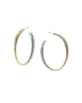 David Yurman - Sterling Silver & 18K Yellow Gold Crossover XL Hoop Earrings