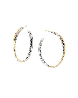 David Yurman - Sterling Silver & 18K Yellow Gold Crossover XL Hoop Earrings