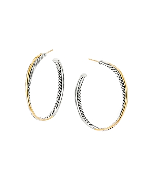 David Yurman Sterling Silver & 18K Yellow Gold Crossover Xl Hoop Earrings