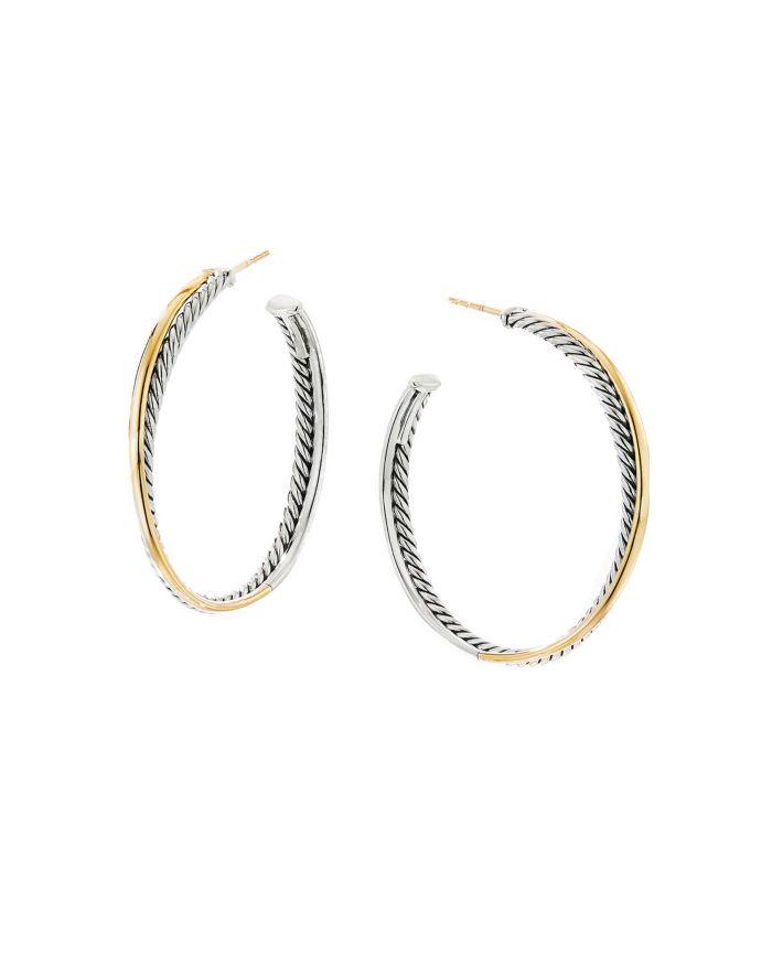 David Yurman Sterling Silver & 18K Yellow Gold Crossover XL Hoop Earrings    Bloomingdale's