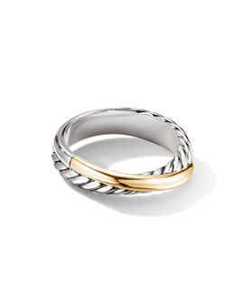 David Yurman - Sterling Silver & 18K Yellow Gold Crossover Ring
