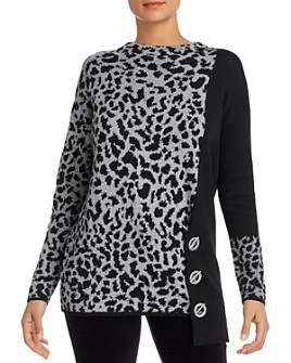 NIC and ZOE - Animal-Print Toggle Sweater