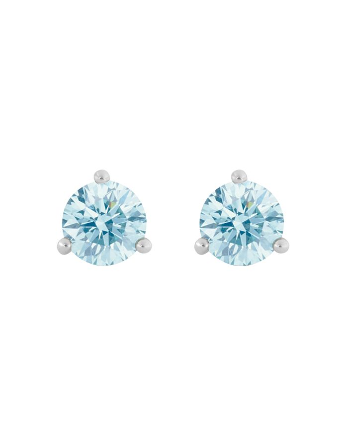 Lightbox Jewelry Solitaire Lab-grown Diamond Stud Earrings In Blue/white