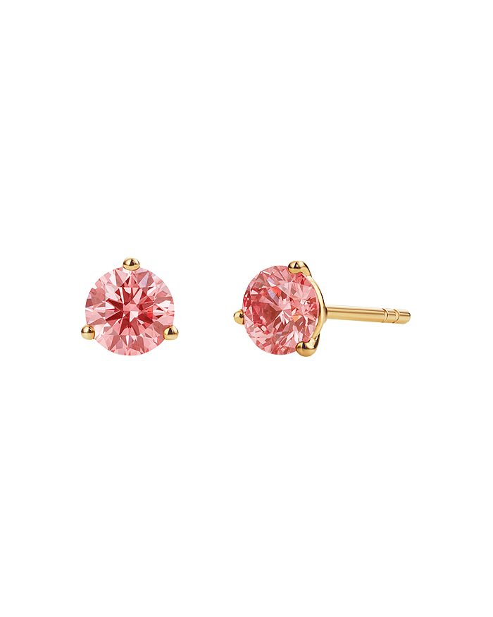 Lightbox Jewelry Solitaire Lab-grown Diamond Stud Earrings In Pink/gold
