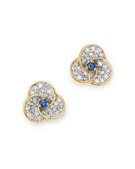 Adina Reyter - 14K Yellow Gold Diamond & Blue Sapphire Petals Stud Earrings