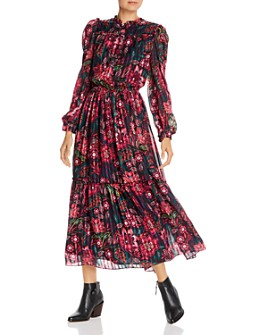 Divine Heritage - Floral Print Long Sleeve Maxi Dress