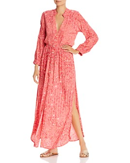 Poupette St. Barth - Ilona Pintucked Floral Print Maxi Dress