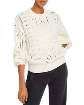 Line & Dot - Balloon-Sleeve Pointelle Sweater - 100% Exclusive