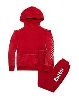 Butter - Girls' Cold-Shoulder Sneaker Hoodie & Logo Fleece Pants - Little Kid, Big Kid