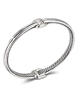 David Yurman - Sterling Silver Thoroughbred Center Link Bracelet with Diamonds