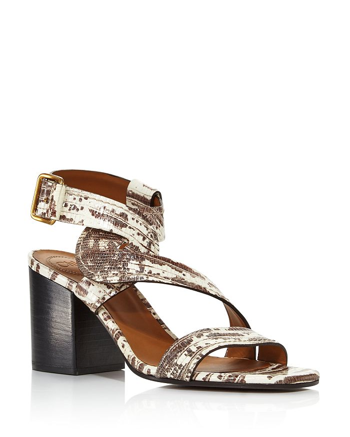 Chloé - Women's Candice Embossed Chunky-Heel Sandals - 100% Exclusive