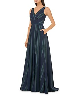 Carmen Marc Valvo Infusion - Striped V-Neck Gown