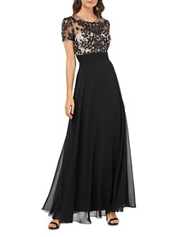 JS Collections - Embroidered Illusion Bodice Gown