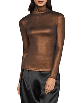 BCBGMAXAZRIA - Metallic Turtleneck Top