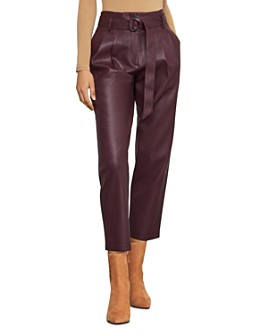BCBGMAXAZRIA - Pleated Faux Leather Pants