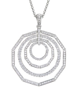 David Yurman - 18K White Gold Stax Full Pave Pendant Necklace with Diamonds, 32""
