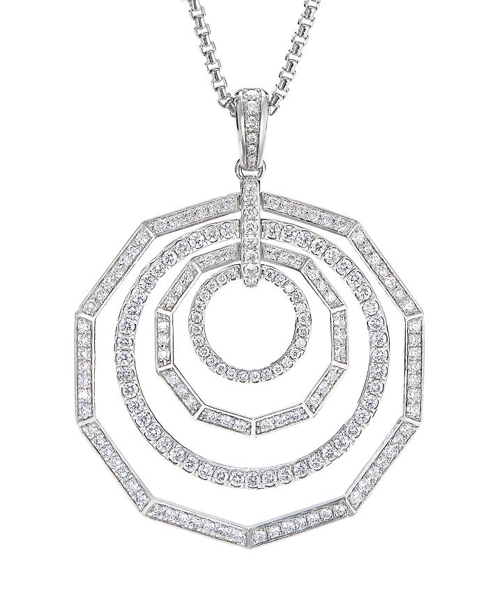 "David Yurman - 18K White Gold Stax Full Pavé Pendant Necklace with Diamonds, 32"""