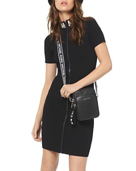 MICHAEL Michael Kors - Ribbed Zip-Front Sheath Dress