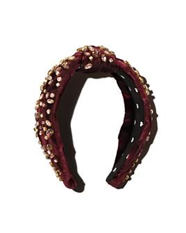 Lele Sadoughi - Mixed-Embellishment Velvet Knot Headband