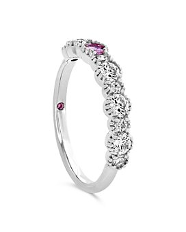 Hayley Paige for Hearts on Fire - 18K White Gold Behati Beaded Band with Diamonds & Pink Sapphires