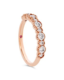 Hayley Paige for Hearts on Fire - 18K Rose Gold Behati Beaded Band with Diamonds & Pink Sapphire
