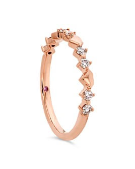 Hayley Paige for Hearts on Fire - 18K Rose Gold Behati Bold Shapes Band with Diamonds & Pink Sapphire