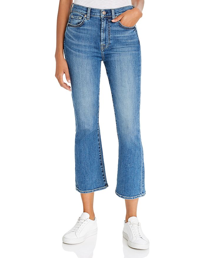 7 For All Mankind - Cropped Slim-Kick Jeans in B(air) Authentic Destiny