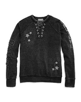 Butter - Girls' Rhinestone Unicorn Lace-Up Sweatshirt - Little Kid, Big Kid