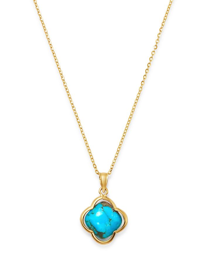 """Bloomingdale's - Turquoise Clover Pendant Necklace in 14K Yellow Gold, 18"""" - 100% Exclusive"""
