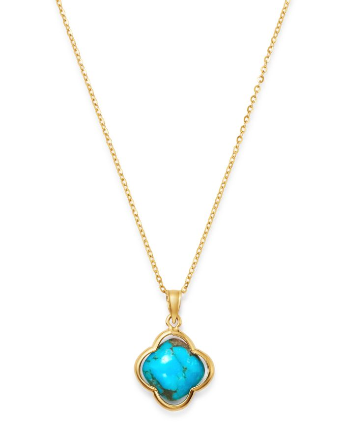 """Bloomingdale's Turquoise Clover Pendant Necklace in 14K Yellow Gold, 18"""" - 100% Exclusive    Bloomingdale's"""