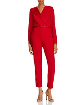 Adrianna Papell - Crepe and Satin Tuxedo Jumpsuit