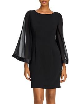 Adrianna Papell - Bell-Sleeve Ribbed Sheath Dress