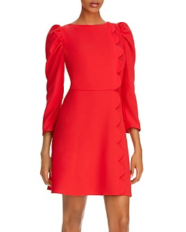 Shoshanna - Brielle Scalloped Puff-Sleeve Sheath Dress