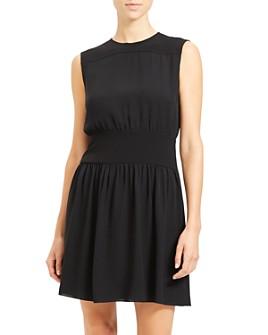 Theory - Shirred Silk Dress