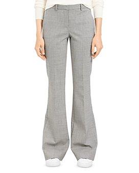 Theory - Plaid Wool-Stretch Flared Pants