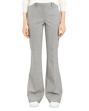 Theory Plaid Wool-Stretch Flared Pants