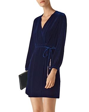 Whistles Lavone Velvet Mini Wrap Dress-Women