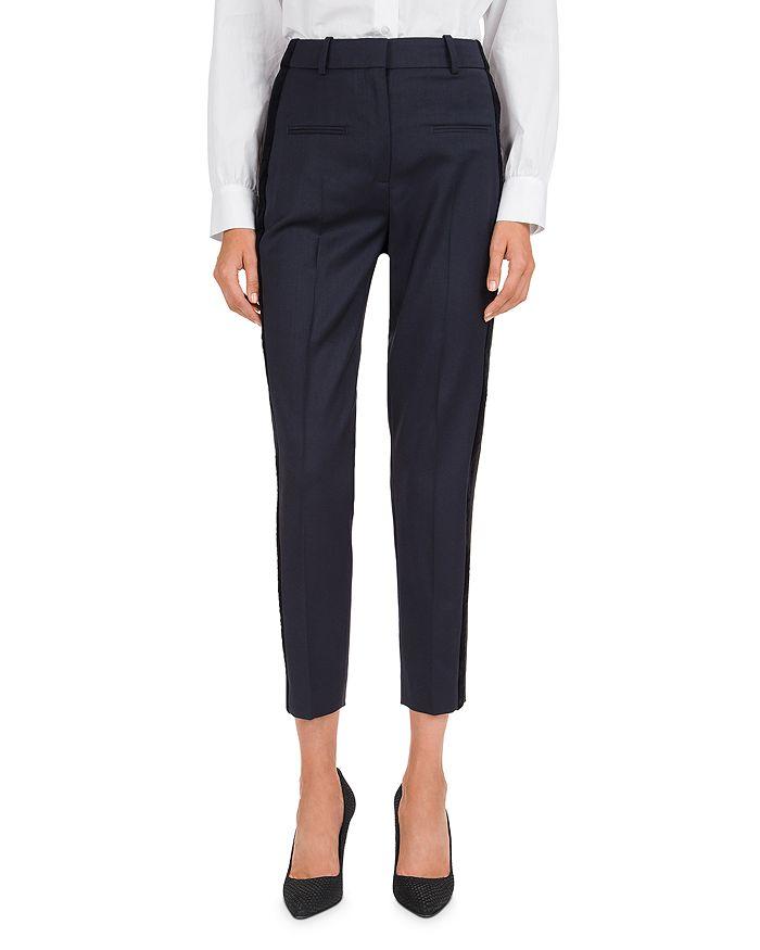 The Kooples - Cropped Velvet Side-Stripe Pants